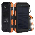 12000mAh Solar Power Bank w/ Dual USB 2.0, Compass, Flashlight- Orange