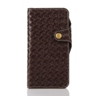 Mesh PU + TPU Flip Leather Case w/ Stand for IPHONE 7 Plus -Deep Brown