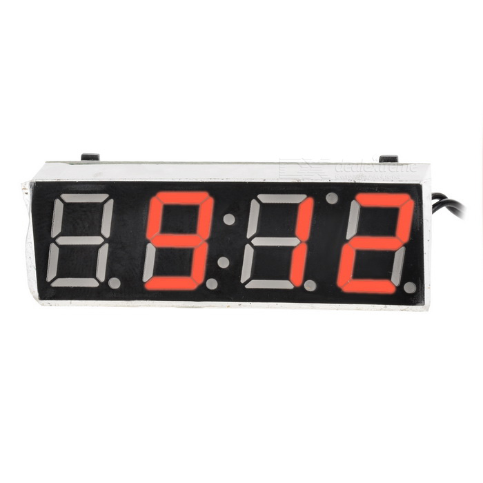 1.7 Red LED Display Digital Car Thermometer Voltmeter Clock ModuleVoltmeter or Thermometers or Hygrometers<br>Form  ColorRed DisplayModelN/AQuantity1 DX.PCM.Model.AttributeModel.UnitMaterialABSFunctionTemperature display,clock,voltage displayScreen Size1.7 DX.PCM.Model.AttributeModel.UnitDisplay ColorRedClock Display Format24 hoursAlarm ClockNoTemperature Range-50 - 130 DX.PCM.Model.AttributeModel.UnitHumidity RangeN/APower Supply7 - 20VCable Length20 DX.PCM.Model.AttributeModel.UnitPacking List1 * Car Voltmeter Thermometer Clock Module1 * Cable (20cm)<br>