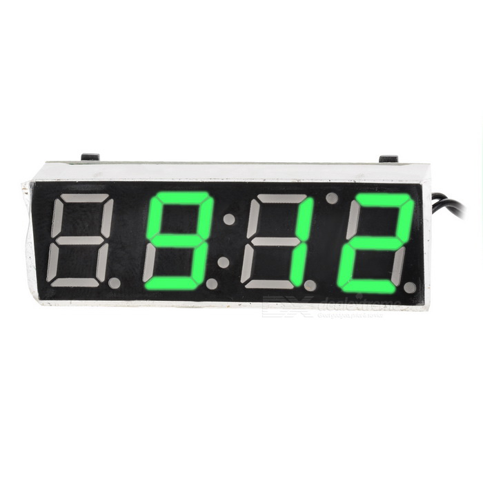 1.7 Green LED Display Digital Car Thermometer Voltmeter Clock ModuleVoltmeter or Thermometers or Hygrometers<br>Form  ColorGreen DisplayModelN/AQuantity1 DX.PCM.Model.AttributeModel.UnitMaterialABSFunctionTemperature display,clock,voltage displayScreen Size1.7 DX.PCM.Model.AttributeModel.UnitDisplay ColorGreenClock Display Format24 hoursAlarm ClockNoTemperature Range-50 ~ 130 DX.PCM.Model.AttributeModel.UnitHumidity RangeN/APower Supply7~20VCable Length20 DX.PCM.Model.AttributeModel.UnitPacking List1 * Car Voltmeter Thermometer Clock Module1 * Cable (20cm)<br>