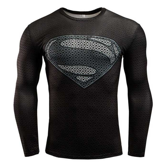 3D Printing Fast-Drying Long-Sleeved Tight-Fitting Male T-shirt (XXXL)