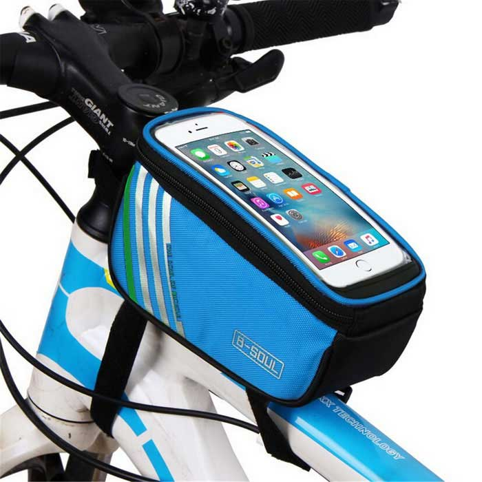 B-SOUL YA0207 Bicycle Top Tube Bag for 4.8 Phone - Blue (1.4L)Bike Bags<br>Form  ColorBlueModelYA0207Quantity1 DX.PCM.Model.AttributeModel.UnitMaterialPolyester + PUTypeOthers,Top Tube BagCapacity1.4 DX.PCM.Model.AttributeModel.UnitWaterproofNoGenderUnisexBest UseCycling,Mountain Cycling,Recreational Cycling,Road Cycling,Triathlon,Bike commuting &amp; touringCertificationCEPacking List1 * Bicycle Top Tube Bag<br>