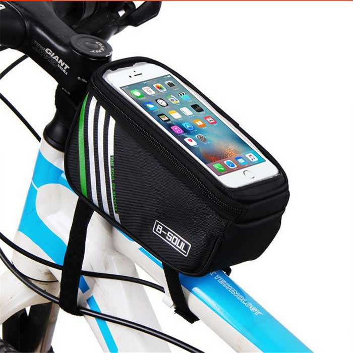 B-SOUL YA0207 Bicycle Top Tube Bag for 4.8 Phone - Black (1.4L)Bike Bags<br>Form  ColorBlackModelYA0207Quantity1 DX.PCM.Model.AttributeModel.UnitMaterialPolyester + PUTypeOthers,Top Tube BagCapacity1.4 DX.PCM.Model.AttributeModel.UnitWaterproofNoGenderUnisexBest UseCycling,Mountain Cycling,Recreational Cycling,Road Cycling,Triathlon,Bike commuting &amp; touringCertificationCEPacking List1 * Bicycle Top Tube Bag<br>