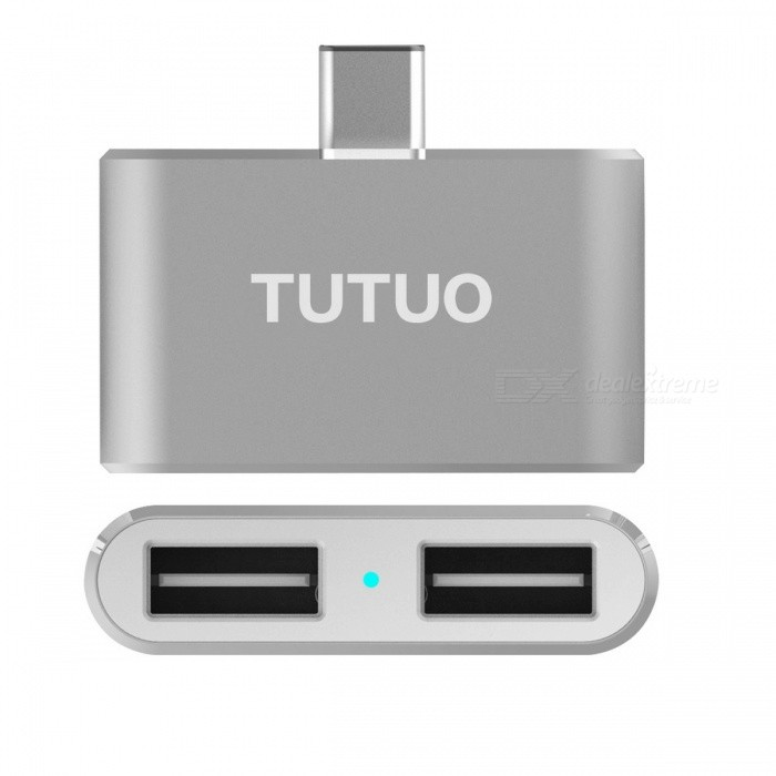 TUTUO OTG USB 3.1 Type-C Converter to Dual USB 2.0 HUB AdapterUSB Hubs &amp; Switches<br>Form  ColorDeep grayModelType-C-HUB13Quantity1 pieceMaterialAluminium alloyShade Of ColorGrayIndicator LightYesPort Number2With Switch ControlNoInterfaceUSB 2.0Transmission Rate5 bpsPowered ByUSBSupports SystemWin xp,Win 2000,Win vista,Win7 32,Win7 64,Win8 32,Win8 64,MAC OS X,IOS,Linux,Android 2.x,Android 4.xCertificationROHS  CEPacking List1 * Type-C USB HUB<br>