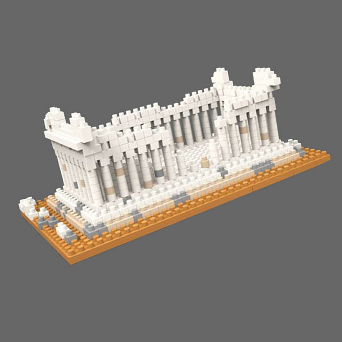Mini diy diamond granules greek temple building blocks