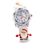Creative Cute 3D Silicone Santa Figure Watch for Children - White