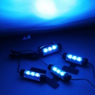 QooK 5W 3-LED Blue Car Interior Decoration Neon Light (DC 12V / 4PCS)