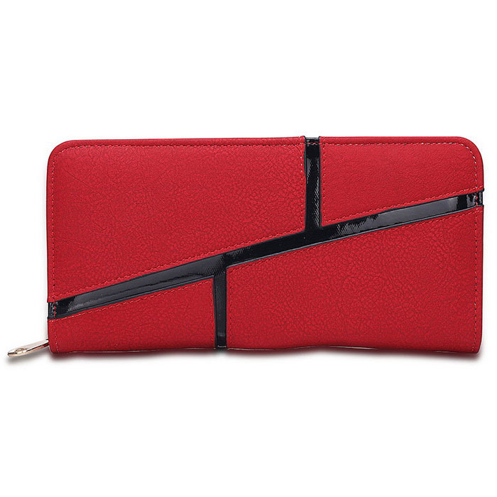 L006-1 Women's Zipper Long Style PU Purse - Red + Black