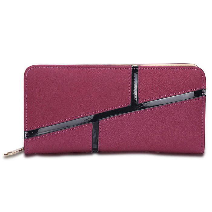 L006-2 Women's Zipper Long Style PU Purse - Purple Red + Black