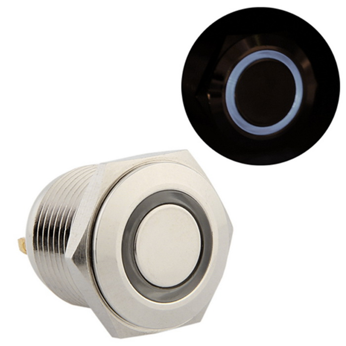 QooK 16mm 3V Blue LED Momentary Push Button Metal Switch for Car