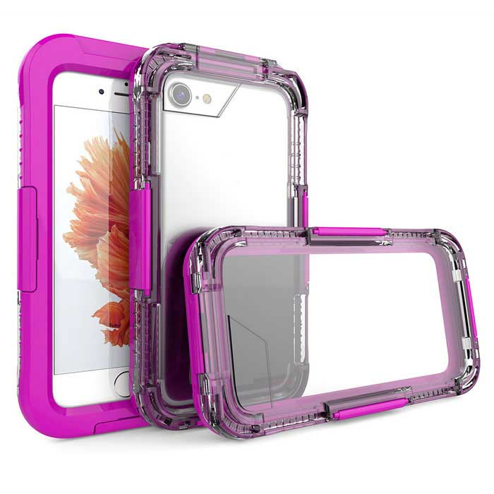 Waterproof Case and Touch Screen for IPHONE 7 - PurpleWaterproof Cases<br>Form  ColorPurpleModelN/AQuantity1 DX.PCM.Model.AttributeModel.UnitMaterialPCWaterproof LevelOthers,Waterproof ten metersCompatible ModelsiPhone 7Touch Control via CaseYesSuitable forCamping,Boating,Fishing,Swimming,Rainy DaysPacking List1*case<br>