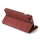Mesh PC + PU Flip Wallet Case for iPhone 7 Plus - Red