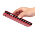 Premium PU + TPU Flip Wallet Case for iPhone 7 - Red