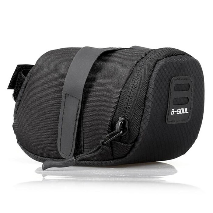 B-SOUL YA0202 Bicycle Saddle Bag Polyester Folding Bag - Black