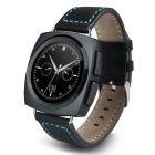 Eastor A11 Round Screen Heart Rate Smart Watch - Black (Leather Band)