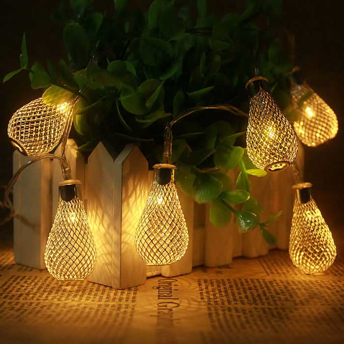 Jiawen 5m Metal Drops Christmas Holiday Decoration String Lights