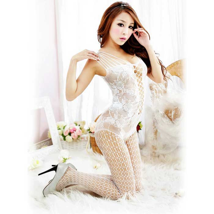 Crochet Flower Hollow Sexy Sling One-Piece Stocking Pants - White