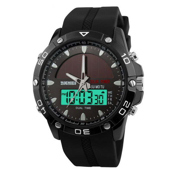 SKMEI 1064 Mens Sports Digital Quartz Wrist Watch - BlackSport Watches<br>Form  ColorBlackModel1064Quantity1 DX.PCM.Model.AttributeModel.UnitShade Of ColorBlackCasing MaterialZinc alloyWristband MaterialSiliconeSuitable forAdultsGenderMenStyleWrist WatchTypeSports watchesDisplayAnalog + DigitalBacklightYesMovementOthers,Digital + QuartzDisplay Format12/24 hour time formatWater ResistantWater Resistant 5 ATM or 50 m. Suitable for swimming, white water rafting, non-snorkeling water related work, and fishing.Dial Diameter4.7 DX.PCM.Model.AttributeModel.UnitDial Thickness1.3 DX.PCM.Model.AttributeModel.UnitWristband Length26 DX.PCM.Model.AttributeModel.UnitBattery1 * CR2016Packing List1 * Watch<br>