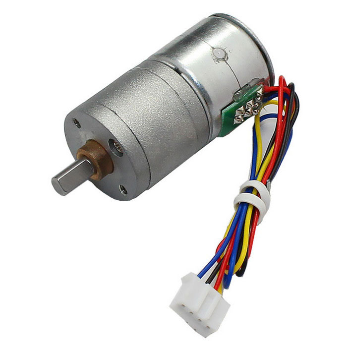 High Torque 20mm Diameter DC 12.0V Stepper Gear Motor - Gray + Silver
