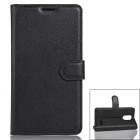 PU Leather Wallet Case w/ Card Slots for Leagoo M5 - Black
