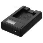 5V Camera Battery Charger with LCD Screen for Canon NB-4L - Black