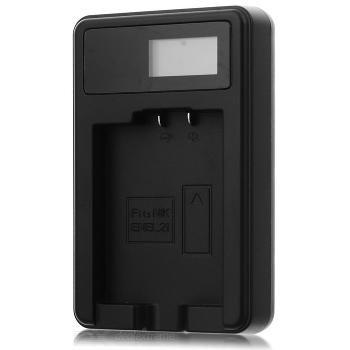 5V Camera Battery Charger with LCD Screen for Nikon EN-EL21 - Black