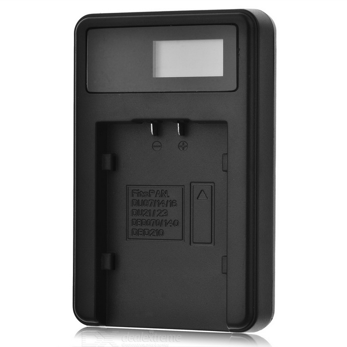 5V Camera Battery Charger with LCD Screen for Pentax DU21 - Black