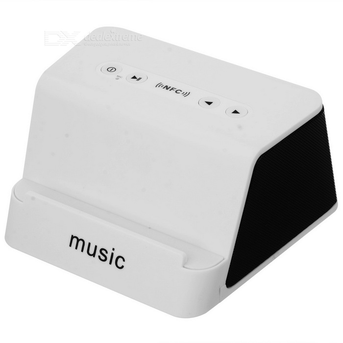 Super Bass Wireless Bluetooth V3.0 Speaker w/ Phone Stand - White