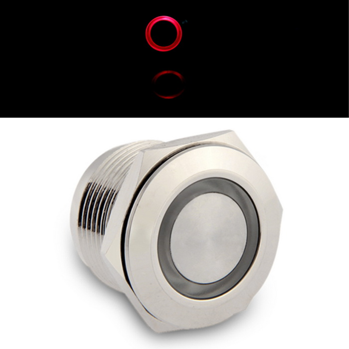 QooK 19mm 3V Red LED Momentary On/Off Push Buttons Switch for Car Boat