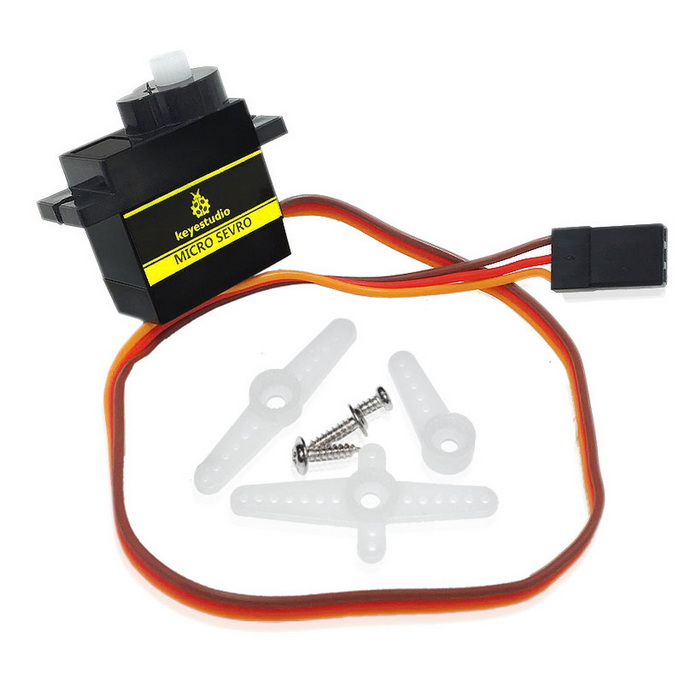 Keyestudio Micro Servo SG90S 9g for ArduinoRepair Parts and Tools<br>Form  ColorBlack + YellowModelSG90SMaterialFR-4 + PVCQuantity1 DX.PCM.Model.AttributeModel.UnitCompatible ModelSmart Electric ToyOther FeaturesNo-load operating speed: 0.12s/60°(4.8V); 0.1s/60°(6.0V)<br>Torque: 1.6KG/cm(4.8V)<br>Operating temp.: -30°C~+60°C<br>Deadzone setting: 5 us<br>Operating voltage: 36.5V~6VPacking List1 * Servos3 * Screws3 * Rudder angles<br>
