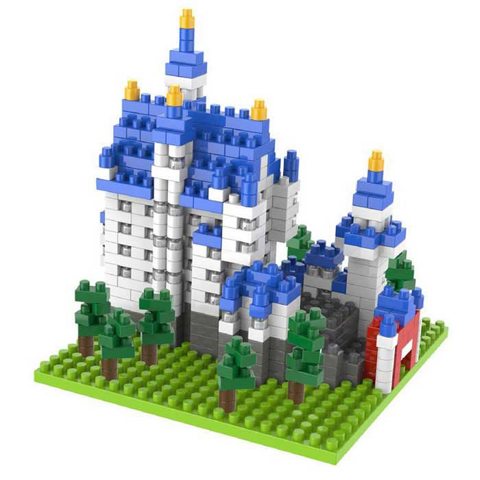 DIY Swan Castle Style Building Blocks Assembled Toy - Blue + Grey