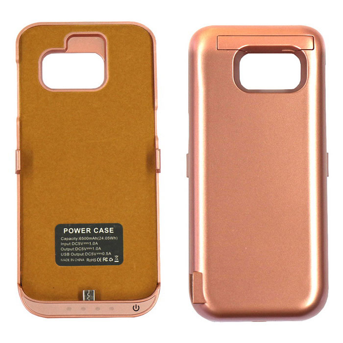 6500mAh Battery Power Bank Back Case for Samsung S7 - Rose Gold