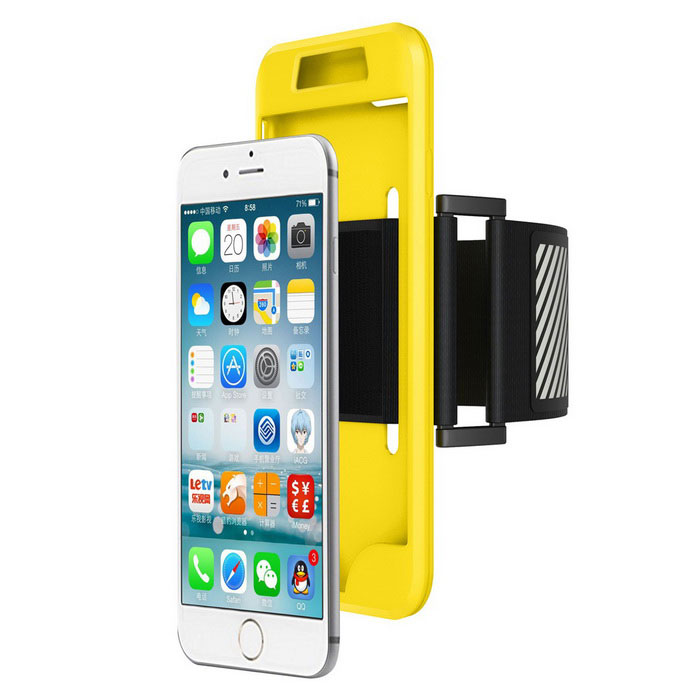 2 in 1 Sport Running Armband + Silicon Case for IPHONE 7 - Yellow