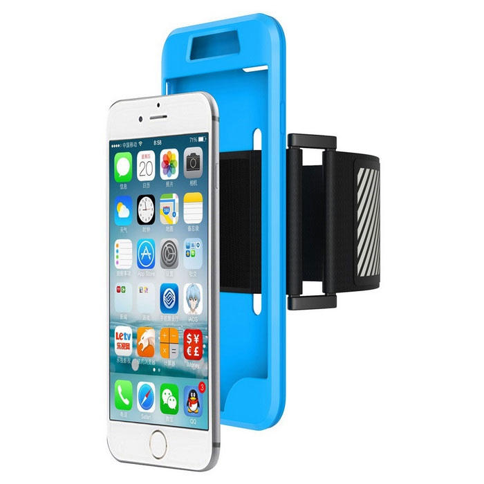 2 in 1 Sport Running Armband + Silicon Case for IPHONE 7 - Blue