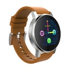 SMAWATCH SMA-09 BT 4.0 Smart Watch - Black + Brown (Leather Band)