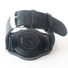 SMAWATCH SM09-1 Round Bluetooth Smart Watch - Black (Leather Band)