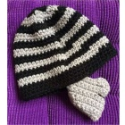 E-SMART Funny Stripe Pattern Half-Face Covered Warm Hat - Black + Grey