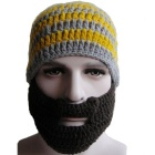 E-SMART Funny Stripe Pattern Half-Face Covered Hat - Yellow + Grey