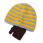 P-TOP Funny Stripe Pattern Half-Face Covered Hat - Yellow + Grey