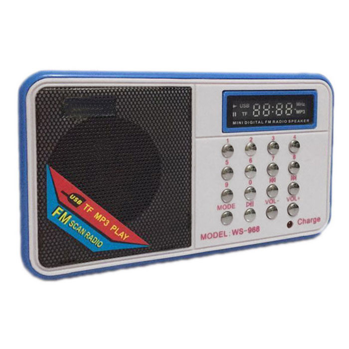 WS-968 TF Card Speaker Rádio FM MP3 Player com cabo USB-Branco