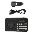T-205 TF tarjeta de altavoz FM Radio MP3 Player con cable USB - Negro