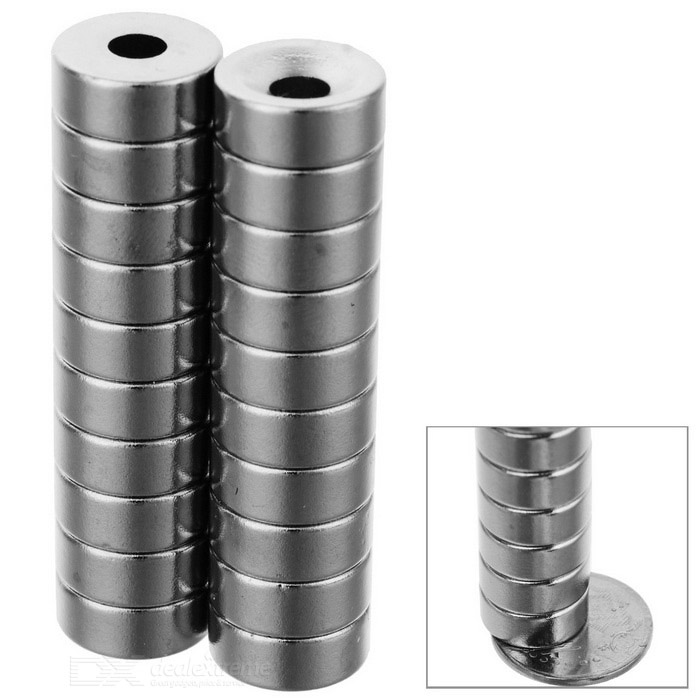 12*5mm Strong NdFeB Magnet w/ Sink Hole - White Silver (5PCS)