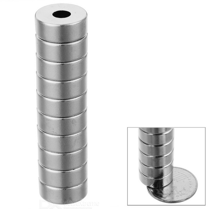 12*5mm Strong NdFeB Magnet w/ Sink Hole - Silver (10PCS)