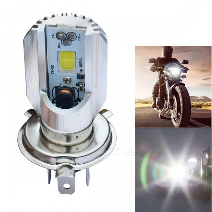Jiawen H4 12W 800lm 6000K COB Bulb Motorcycle Led HeadlightMotorcycle Lighting<br>Form  ColorSilverColor BINCool WhiteModel-Quantity1 DX.PCM.Model.AttributeModel.UnitMaterialAluminumMakeAllCompatible Car ModelMotorcycleEmitter TypeCOBTotal Emitters2Chip BrandEpistarPower12 DX.PCM.Model.AttributeModel.UnitRate Voltage6-80VColor Temperature6000~6500 DX.PCM.Model.AttributeModel.UnitLife Span50000 DX.PCM.Model.AttributeModel.UnitTheoretical Lumens800 DX.PCM.Model.AttributeModel.UnitActual Lumens800 DX.PCM.Model.AttributeModel.UnitConnector TypeH4Input VoltageDC 60~80 DX.PCM.Model.AttributeModel.UnitRated Working VoltageDC 12 DX.PCM.Model.AttributeModel.UnitApplicationHeadlampWater-proofNoPacking List1 * Motorcycle Led Headlight<br>