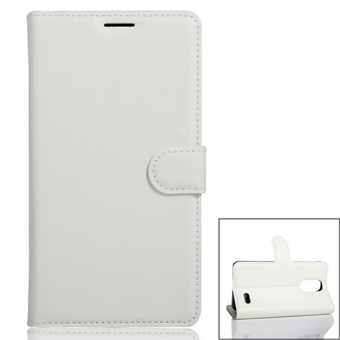 PU Leather Wallet Cases w/ Card Slots for Leagoo M5 - White