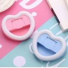 Heart-shaped Selfie Beautifying Fill Light w/ Mirror - Pink + White
