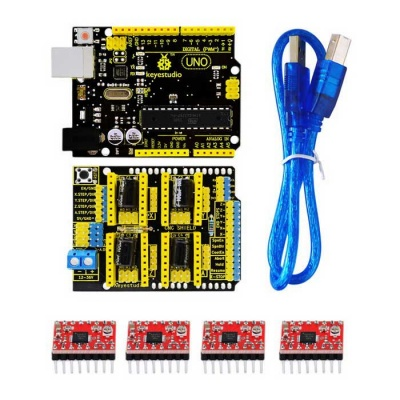 Keyestudio 3D Shield V3 + UNO R3 + 4pcs A4988 Driver /GRBL for Arduino