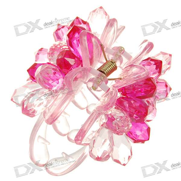 Small Lotus Acrylic Hairpin w/ Beads (Pink)