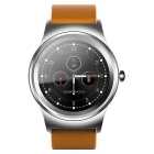 SMAWATCH SMA-09 Round Bluetooth Smart Watch - Silver (Leather Band)