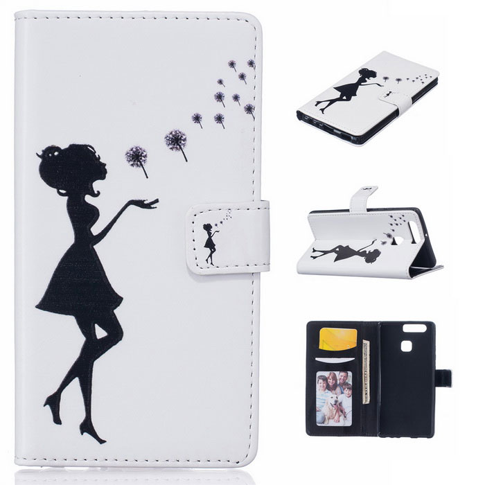 Black Girl Pattern Protective PU Leather Case w/ Stand for Huawei P9